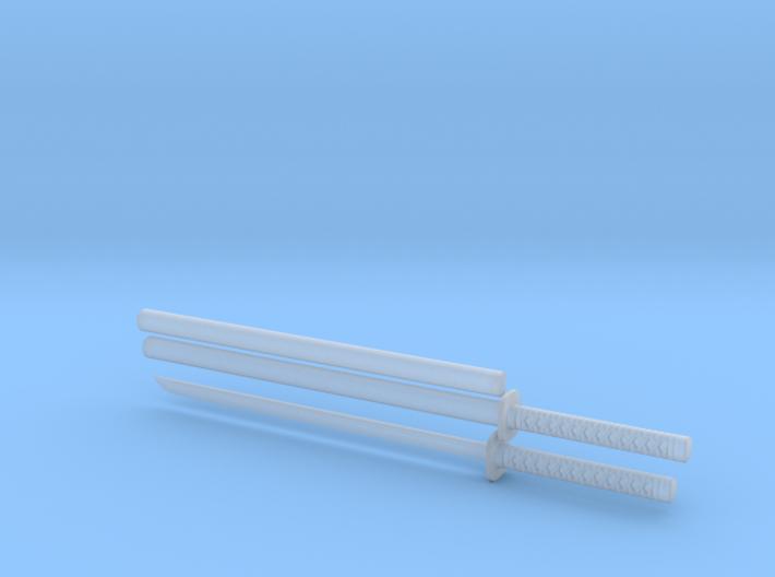 Katana - 1:12 scale - Straight blade - Tsuba 3d printed