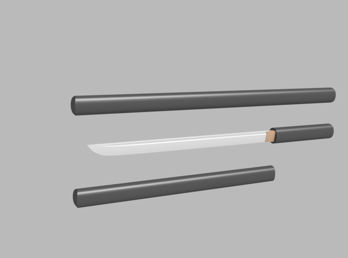 Wakizashi - 1:12 scale - Straight blade - Plain 3d printed