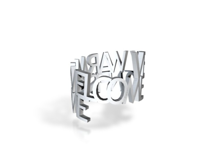 """Metal ringpoem """"Very warm welcome to Nifis home"""" 3d printed"""