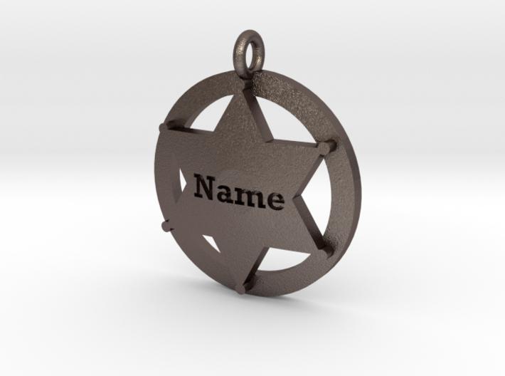 Sheriffs Star (6-point) Pet Tag / Pendant /Key Fob 3d printed