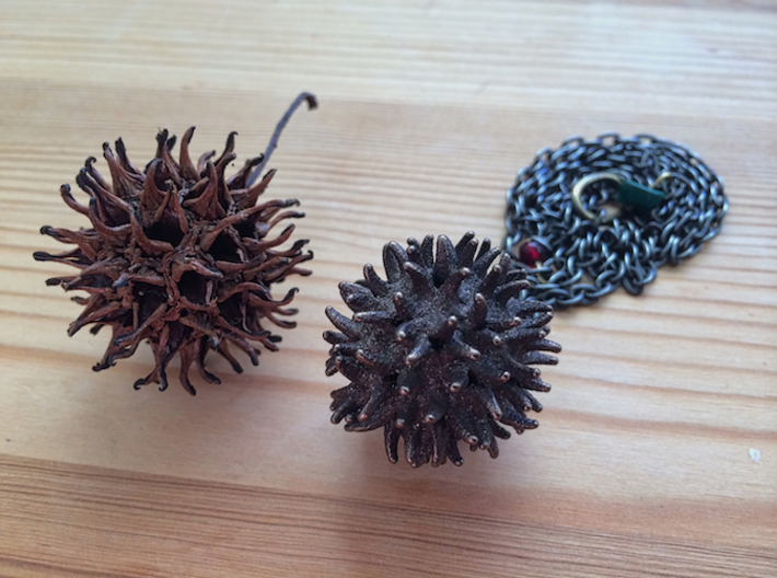 Sweetgum Tree Seed Pendant: Necklace/Earring 3d printed Polished Bronze Steel