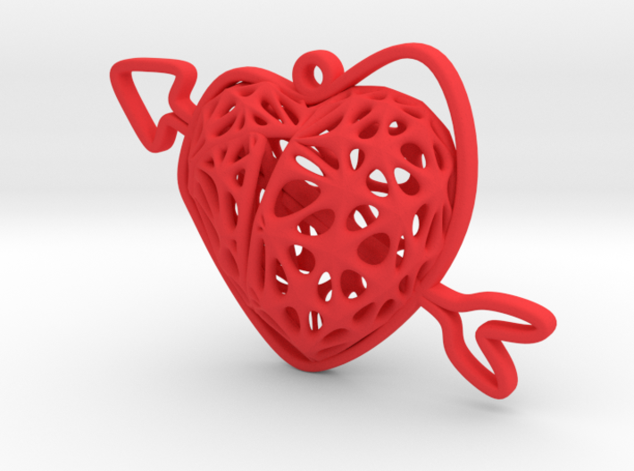 Voronoi Heart + Heart Earring (004) 3d printed