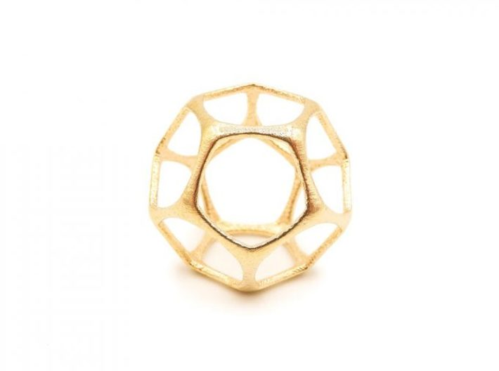 Dodecahedron Pendant - Platonic Solids 3d printed Dodecahedron Pendant - Brass