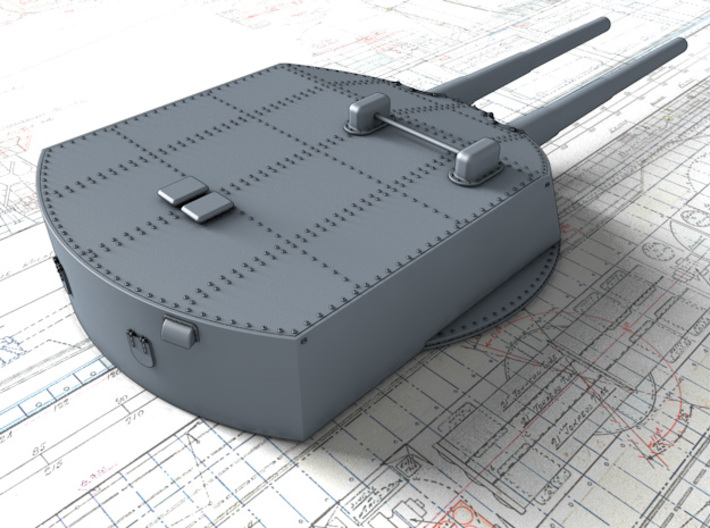 "1/350 König Class 30.5cm (12"") SK L/50 Guns x5 3d printed 3d render showing product detail"