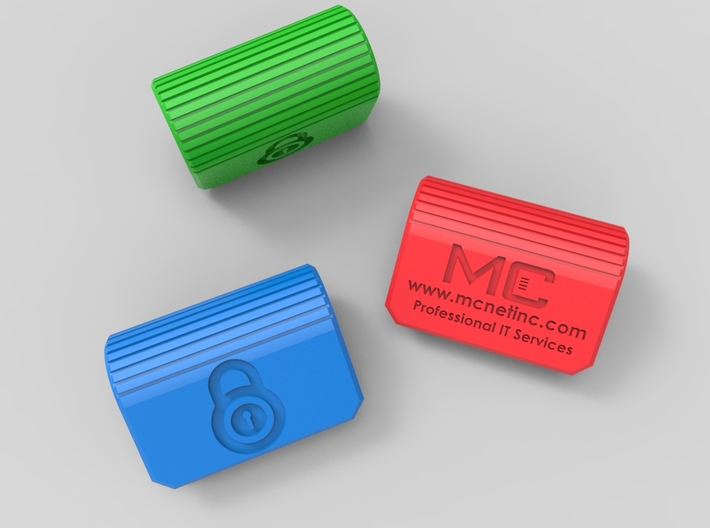 MC-Networks Logo Corporate Webcam Security Cover 3d printed Render of webcam covers green blue red