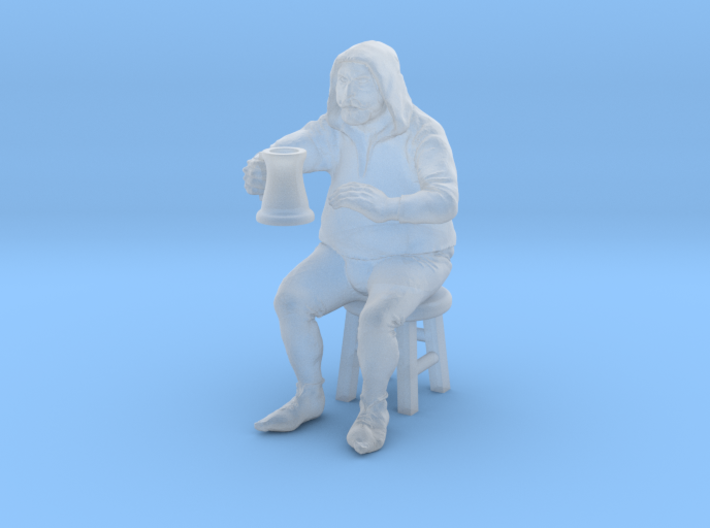Bar patron, seated on stool. 1:48, 28/32mm scale. 3d printed