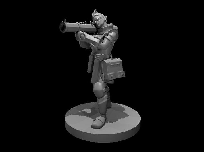 Elf Male Artificer aiming Shoulder Cannon 3d printed