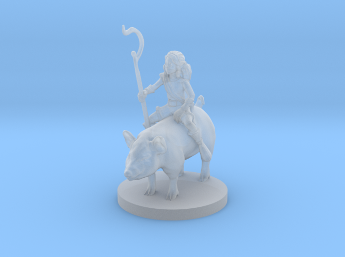 Halfling Female Druid riding a Pig 3d printed