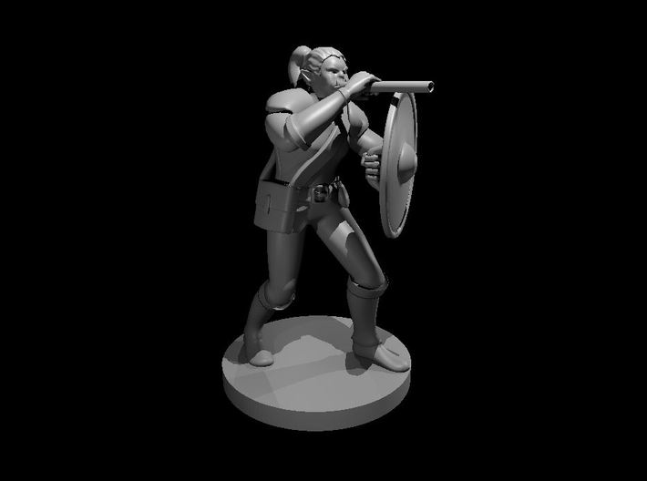Half Orc Female Bard with War Gong and Blowgun 3d printed