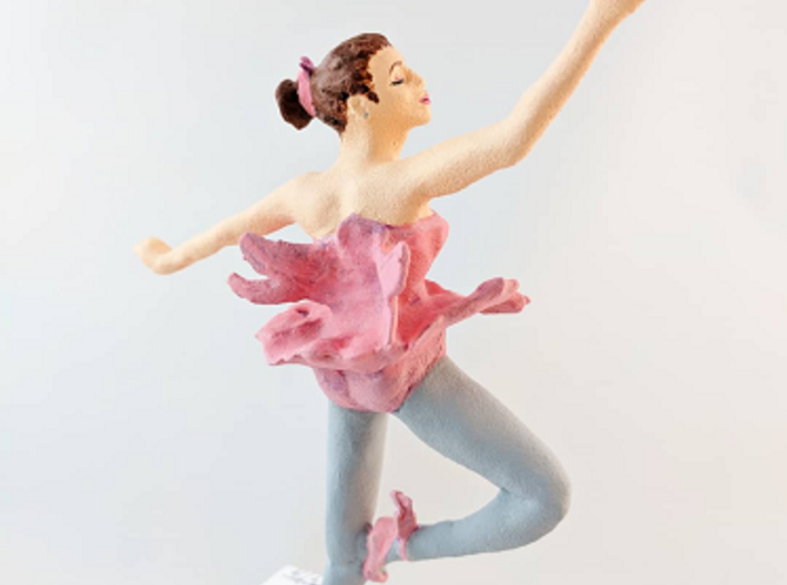 Ballerina 3d printed This is an example of the finished piece with another hand painted design, inserted into a wood base.