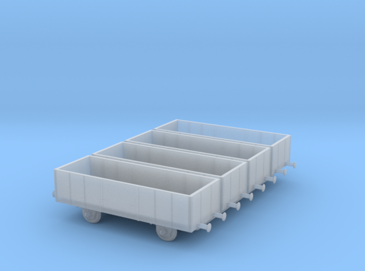 1/350th scale 4 x freight cars, E series 3d printed