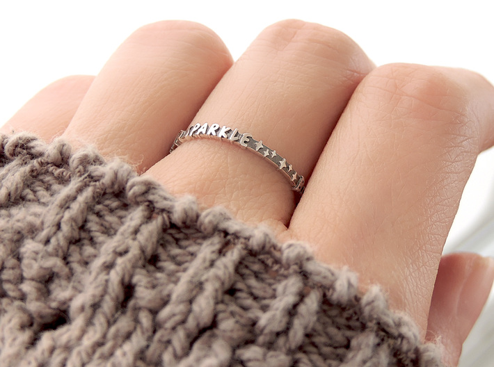 Born To Sparkle Ring (Multiple Sizes) 3d printed 'Born To Sparkle' Ring in Polished Silver with Aftermarket Patina