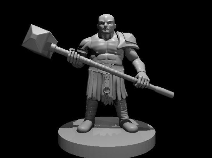 Dwarf Barbarian with Maul - no beard 3d printed