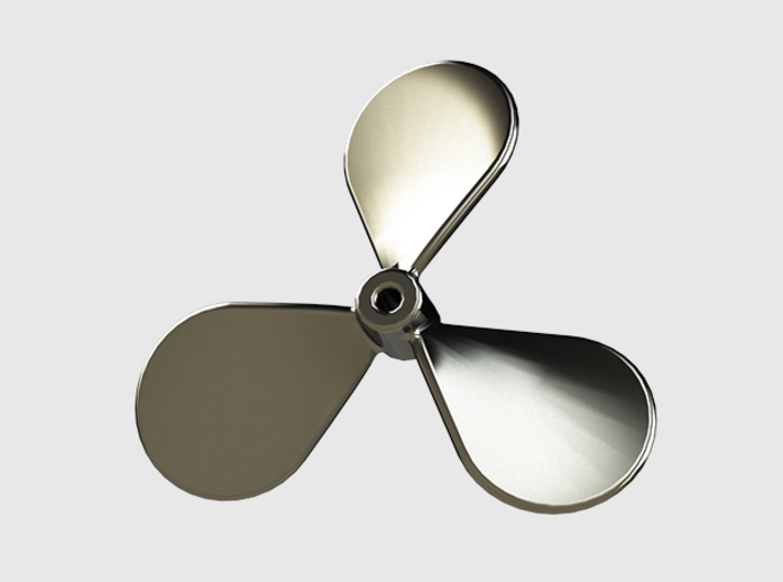 Boat propeller keychain 3d printed Polished stainless steel (render)