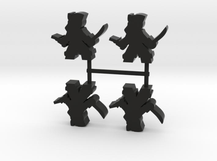 Pirate Meeple Lass, sword pistol, 4-set 3d printed