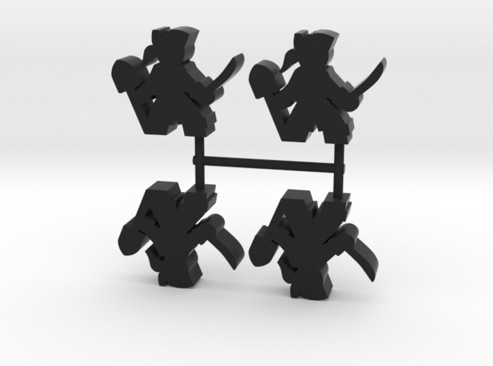 Pirate Meeple, sword and shovel, 4-set 3d printed