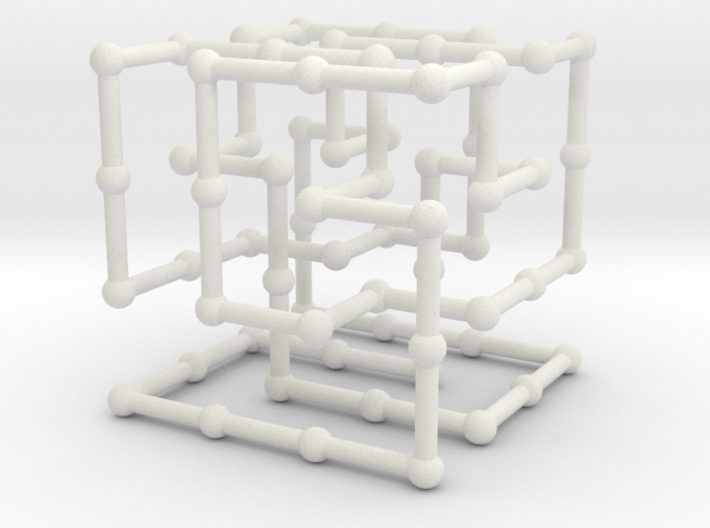 Knot 8_19 in grid 3d printed