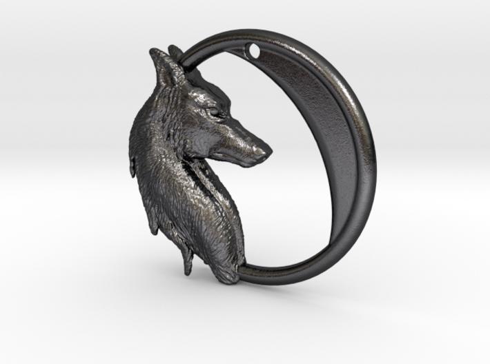 Wolf Moon Pendant 3d printed