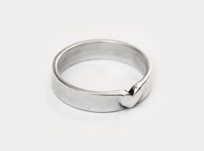 I Love You Heart Promise Ring for Women .4mm Wide  3d printed Sterling Silver Band Ring . Promise Ring for Her
