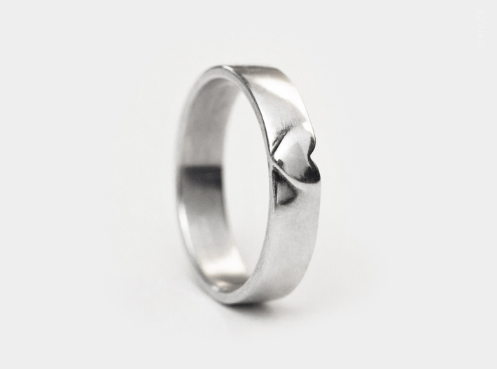 I Love You Heart Promise Ring for Women .4mm Wide  3d printed 925 Sterling Silver 4mm Band