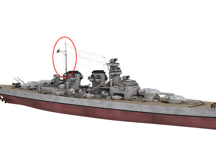 1/350 DKM H39 Superstructure 5 Main Mast 3d printed