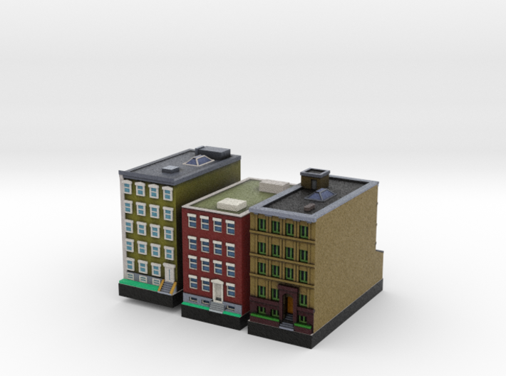 New York Set 1 Houses of 1 x 2 set of 3 3d printed