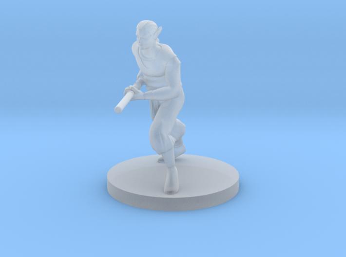 Elven Monk Running with Quarterstaff 3d printed