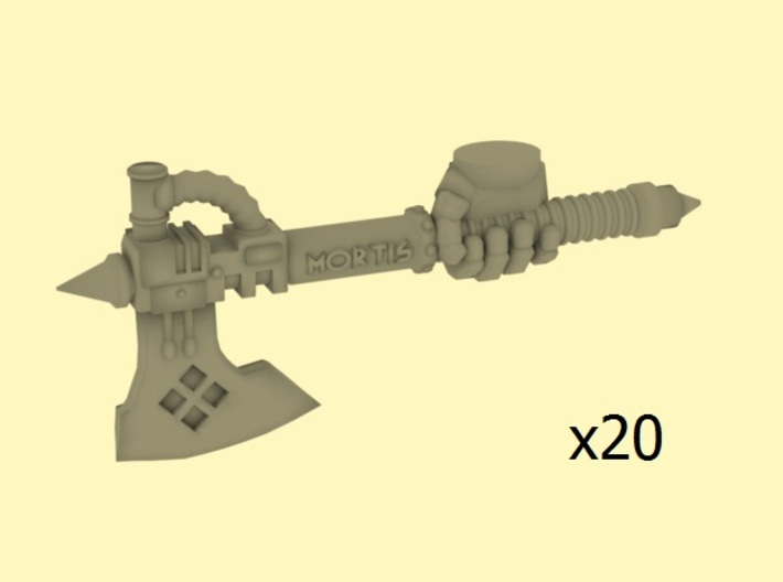 28mm Securis Mortis axes with armoured hands 3d printed