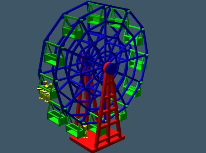 "Ferris Wheel - Zscale 3d printed Render showing size vs 5'6"" people"