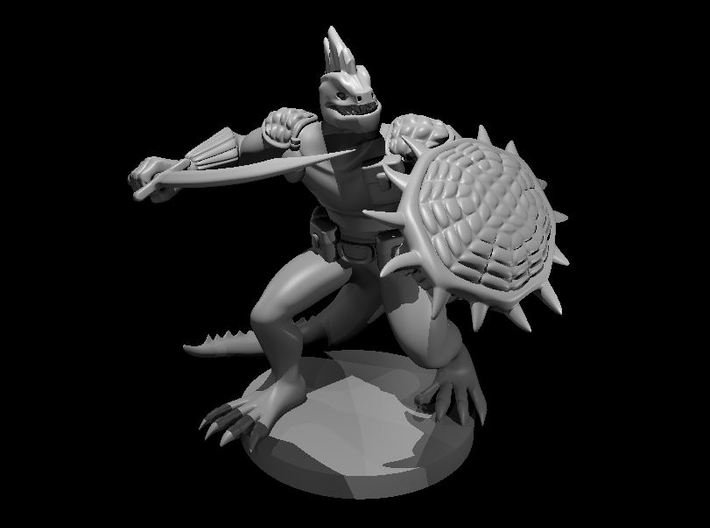 Lizardfolk Fighter with Scimitar and Shield 3d printed