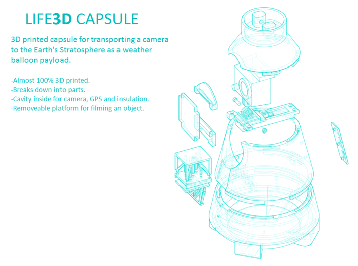 Life3D Weather Balloon Capsule - Camera Mount 3d printed Exploded View of All Parts