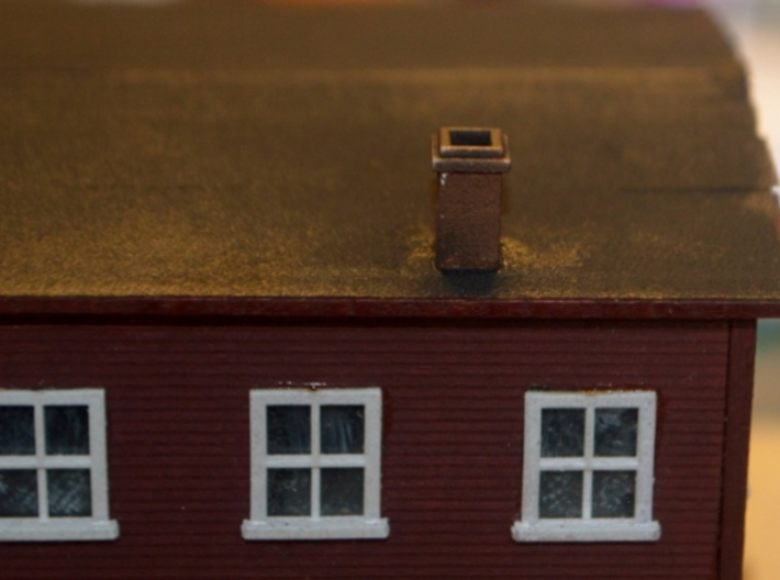 N-Scale Box & Crate Factory Details 3d printed Painted Production Sample - Chimney