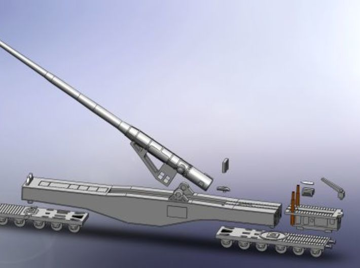 "28cm Railway Gun K5 (E) ""Leopold"" 1/220 Z-Scale 3d printed Assembly"