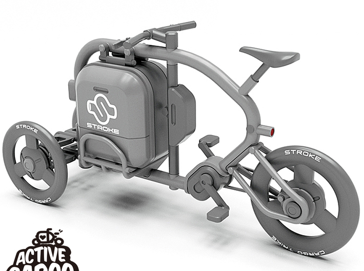 1/12 STROKE Cargo Trike: Cargobox 3d printed This is a 3D data rendering. The frame, suspension and  wheels are not included in this Cargobox kit.