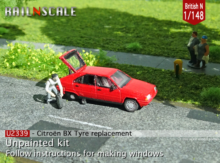 Citroën BX tyre replacement (British N 1:148) 3d printed