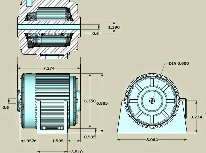 Electric Motor with shaft hole 20ea 3d printed