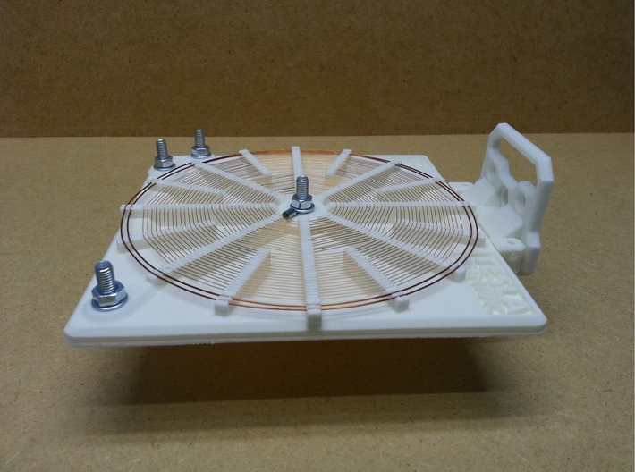 Stand For 140mm Tesla Flat Spiral Coils 3d printed Coil with stand in horizontal position