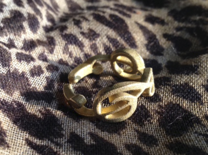 Treble Clef Ring (Size 5) 3d printed Raw Brass - Unpolished