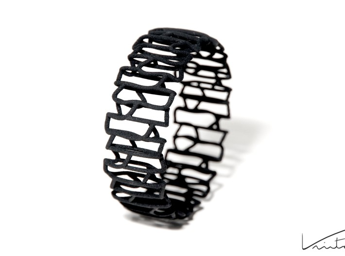 Modern patterned bracelet 3d printed Black Strong & Flexible