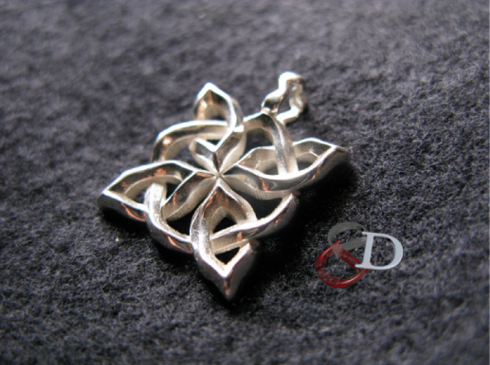 4 Clover Knot - Pendant 3d printed Actual Product Image.Shown in polished silver.