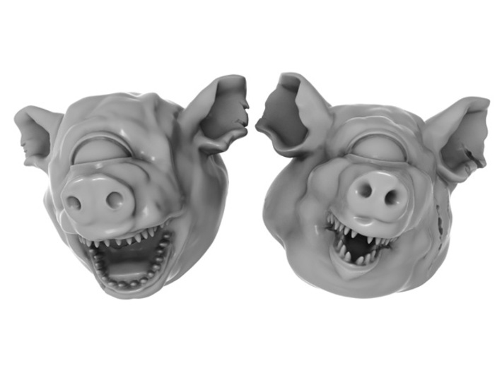 28mm Cyclops / Giant / Mutant / Demon Pig Heads 3d printed