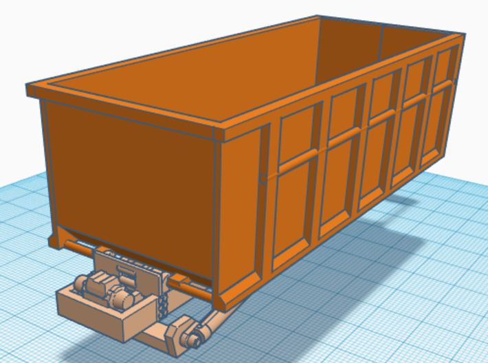1/64th Roll Off Truck Body frame 3d printed Shown with dumpster
