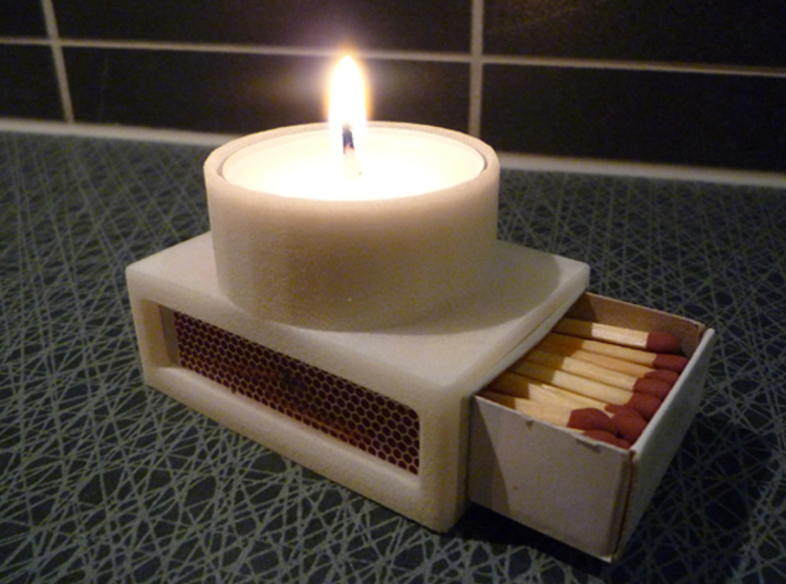 Matchlight 3d printed Tealight candle with matchbox.