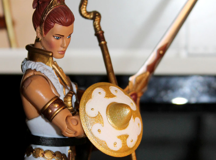 Warrior Goddess Shield 3d printed Painted prototype printed in White Strong & Flexible Polished
