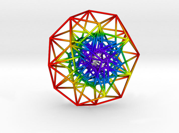 Toroidal 6D Hypercube 200mm diameter Rainbow 3d printed Slightly off centre to show complexity