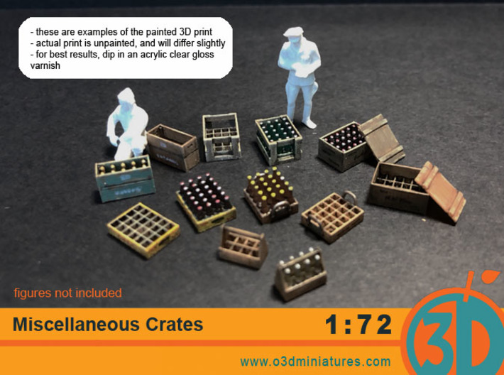 Miscellaneous Crates 1/72 scale 3d printed 3d prints come unpainted. Figures not included.