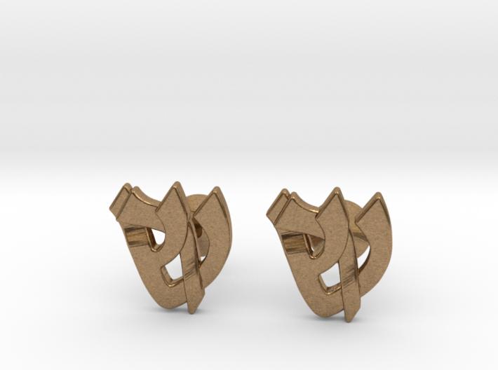"Hebrew Monogram Cufflinks - ""Shin Reish"" 3d printed"
