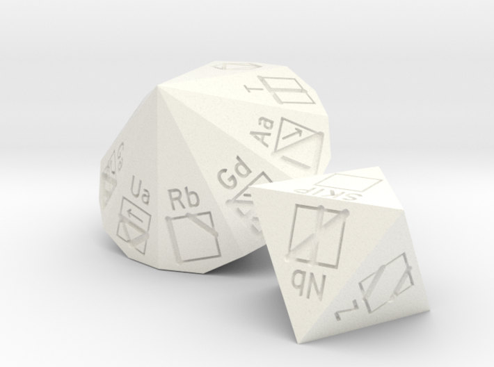 PLL d8 and d18 dice set 3d printed