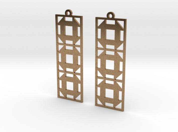 Churn Dash Earrings - Long 3d printed