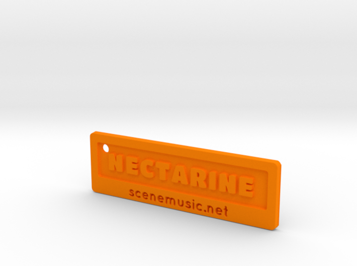 Nectarine Key Fob Plastic Too 3d printed Orange Strong & Flexible Polished render. Final product will not look exactly like this.